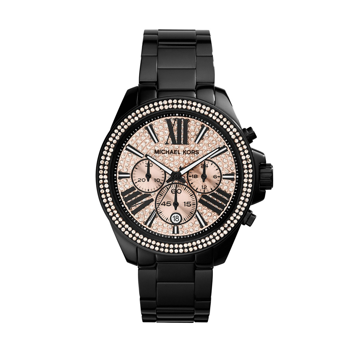 14532813d1ab Michael Kors 42mm Women s Wren MK5879 Black Watch with Link Bracelet ...