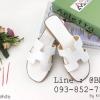 รองเท้าแตะผู้หญิง ตัว H หนัง ปั๊ม พร้อมกล่อง 36-40 สีขาว