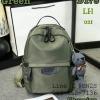 Shumiya กระเป๋าเป้ใบมินิ ทรง Palm Spring ฟรีตุ๊กตาหมีห้อย สีเขียว