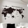 """สติ๊กเกอร์ติดผนังตกแต่งห้อง """"Map of The World"""" ความสูง 72 cm กว้าง 110 cm"""