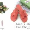รองเท้าแตะผู้หญิง ตัว H หนัง ปั๊ม พร้อมกล่อง 36-40 สีส้ม