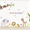 """สติ๊กเกอร์ติดผนัง สำหรับห้องเด็ก """"World of Animal"""" ความสูง 100 cm กว้าง 160 cm"""