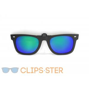 คลิปออนกันแดด Clipsster รุ่น Wayster C กรอบดำเลนส์ปรอทฟ้าเหลือบเขียว