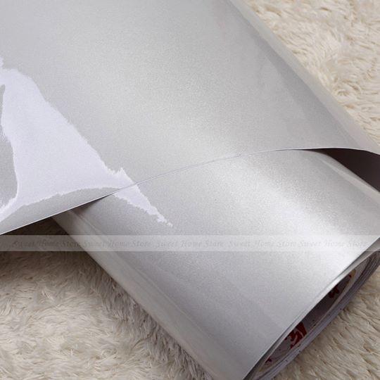 """สติ๊กเกอร์ไฮกลอสสำหรับตกแต่งเฟอร์นิเจอร์ """"สีเทามุก เมทาลิค"""" หน้ากว้าง 122 cm ตัดแบ่งขายตามความยาว เมตรละ 250 บาท ตัดแบบต่อเนื่อง"""