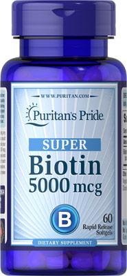 อาหารเสริมบำรุง เล็บ ผม *แรง เร็ว Puritan's Pride Super Biotin 5000 mcg ขนาด 60 Softgels