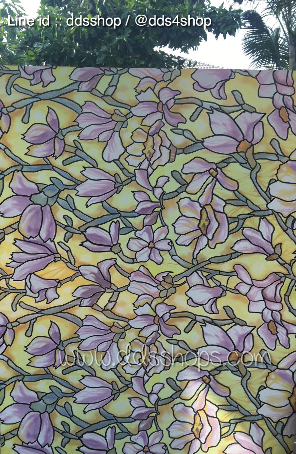 "PVC สูญญากาศติดกระจก ""Yellow flower"" หน้ากว้าง 90 cm ราคาต่อเมตร 270 บาท"