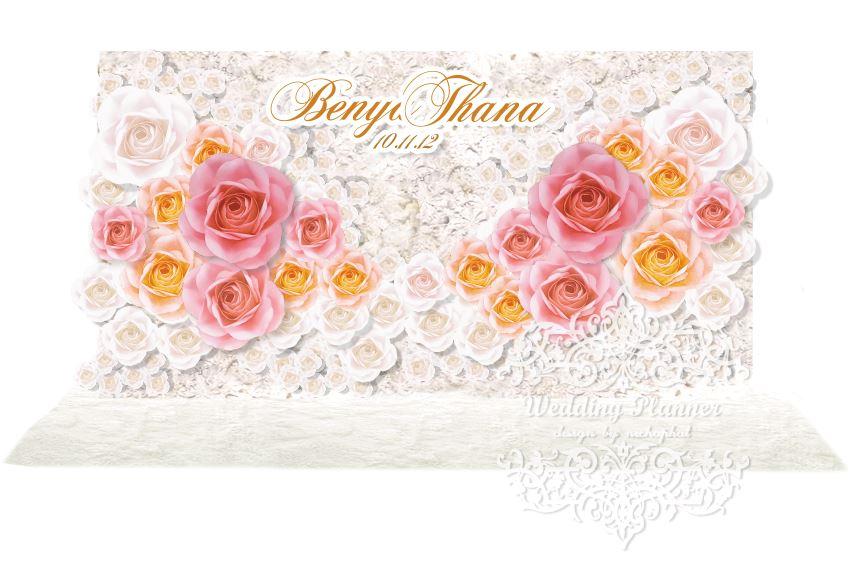 ซุ้มดอกไม้กระดาษเต็มฉาก สีขาว-โอรส (backdrop ฉากงานแต่ง)