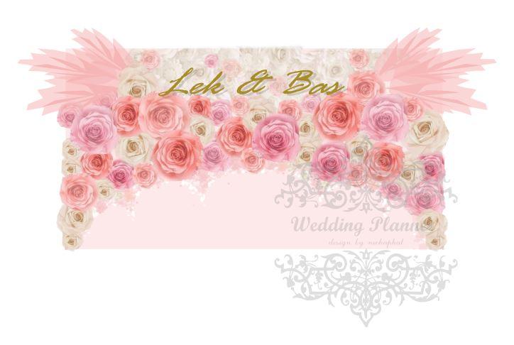 backdrop ดอกไม้กระดาษฉากงานแต่งงานโทนสีชมพูโอรส ให้เช่า