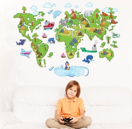 """สติ๊กเกอร์ติดผนัง สำหรับห้องเด็ก """"แผนที่ Green World Map"""" ความสูง 80 cm กว้าง 120 cm"""