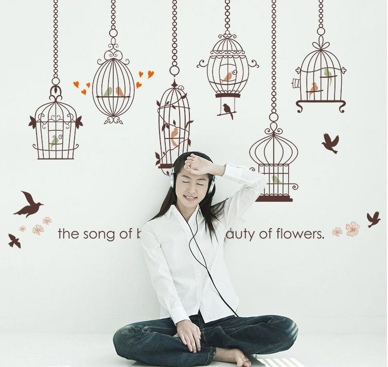 """สติ๊กเกอร์ติดผนัง """"กรงนก The Song of Bird"""" ความสูง 92 cm ยาว 136 cm"""