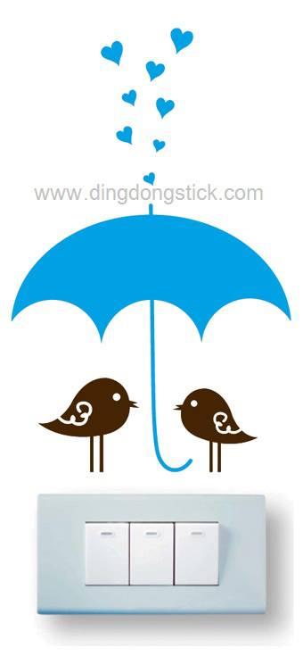 """สติ๊กเกอร์ติดปลั๊กไฟ """"Cute Bird with Blue Umbrella"""" 8 x14 cm"""