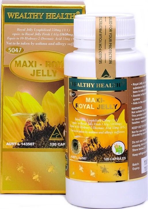 wealthy health royal jelly 1650 mg. นมผึ้งmaxi นมผึ้งแบบดราย ทานแล้วไม่อ้วน เห็นผลดีมาก (เข้มข้นที่สุด เข้มข้นกว่ารุ่นพโดม) ขนาด 120 เม็ด จากออสเตรเลีย