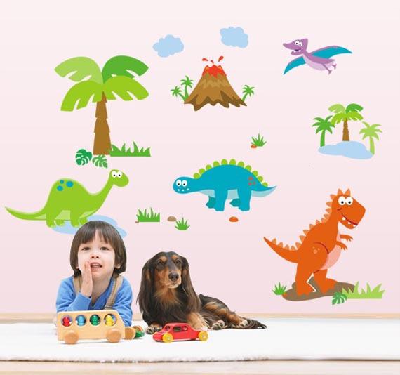 """สติ๊กเกอร์ติดผนัง สำหรับห้องเด็ก """"DinoSour II"""" ความสูง 70 cm กว้าง 130 cm"""