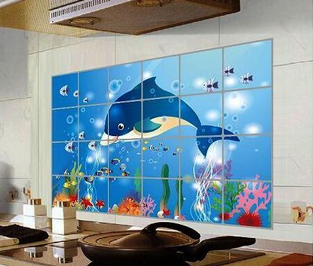 """สติ๊กเกอร์ติดครัวกันน้ำมันกระเด็น """"Under The Sea"""" ขนาด 60 cm x 90 cm"""