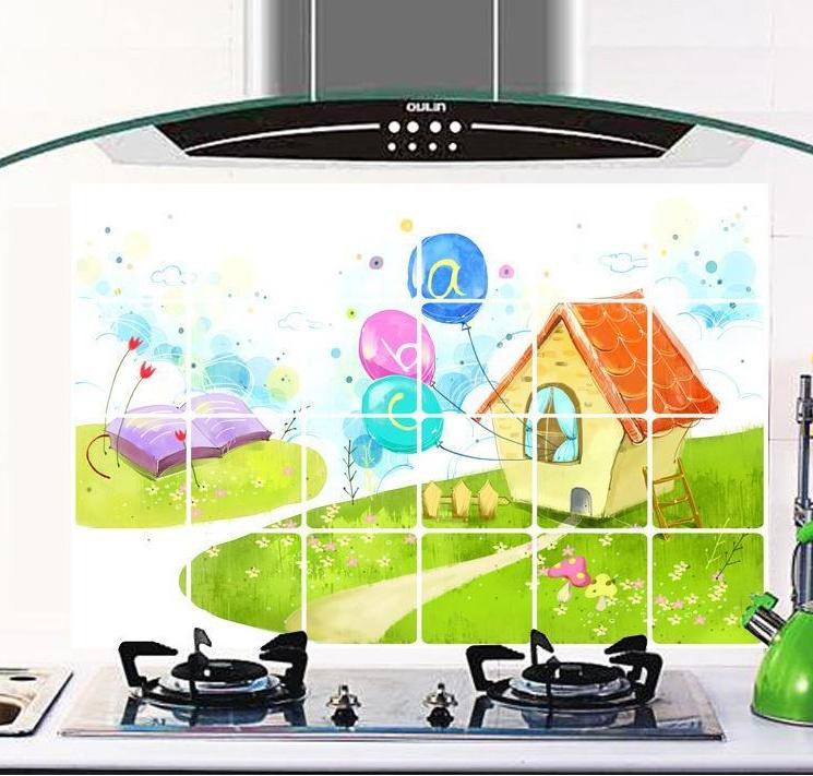 """สติ๊กเกอร์ติดครัวกันน้ำมันกระเด็น """"House"""" ขนาด 60 cm x 90 cm"""
