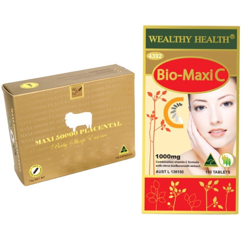 Wealthy Health Maxi 50000 Placenta รกแกะ + Bio-Maxi C 1000mg Vitamin C