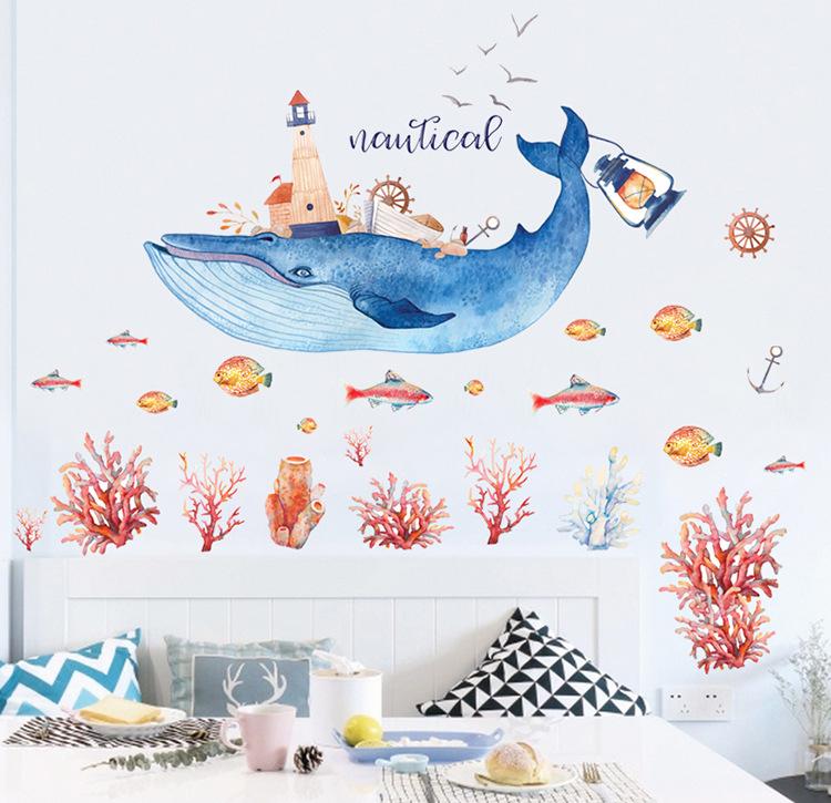 """สติ๊กเกอร์ติดผนัง สำหรับห้องเด็ก (AU)""""ปลา วาฬ Nautical""""ความสูง 110 cm ความยาว 110 cm"""