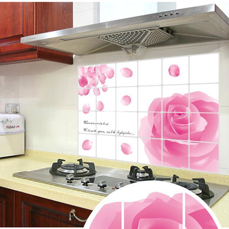 """สติ๊กเกอร์ติดครัวกันน้ำมันกระเด็น """"Rose of Love"""" ขนาด 60 cm x 90 cm"""