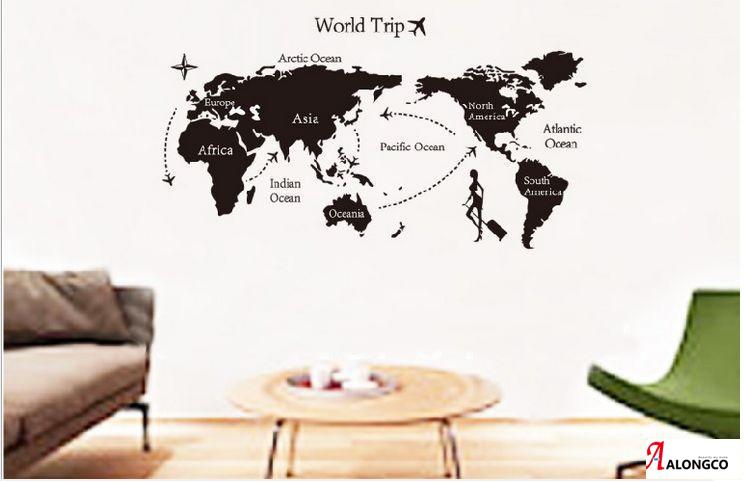 """สติ๊กเกอร์ตกแต่งผนังเมืองท่องเที่ยว """"แผนที่ World Trip"""" ความสูง 60 cm ความกว้าง 130 cm"""