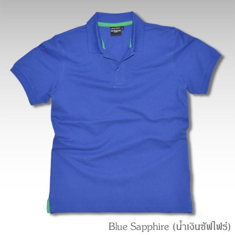Basic Polo สีน้ำเงินซัฟไฟร์ M-2XL ผ้าจุติ