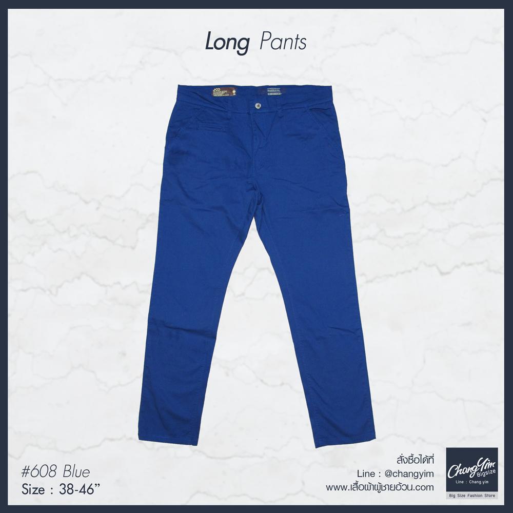 """กางเกงChinoขายาว ผู้ชายอ้วน ทรงกระบอกเล็ก (สีน้ำเงิน) 38-46"""""""