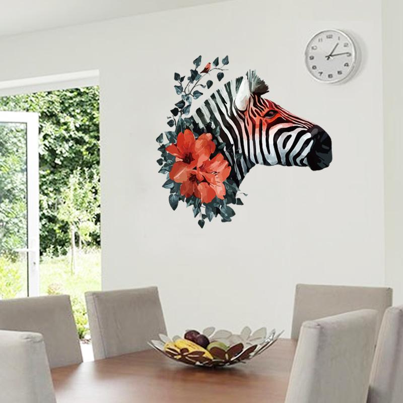 """สติ๊กเกอร์ติดผนังตกแต่งบ้าน """"ม้าลาย Zebra and Red Flower"""" ความสูง 62 m ยาว 65 cm"""