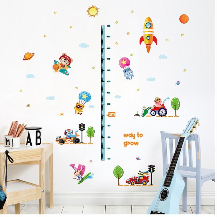 """สติ๊กเกอร์ติดผนังที่วัดส่วนสูงสำหรับเด็ก """"Way to Grow"""" สเกลเริ่มต้น 60cm ความยาว 180 cm"""