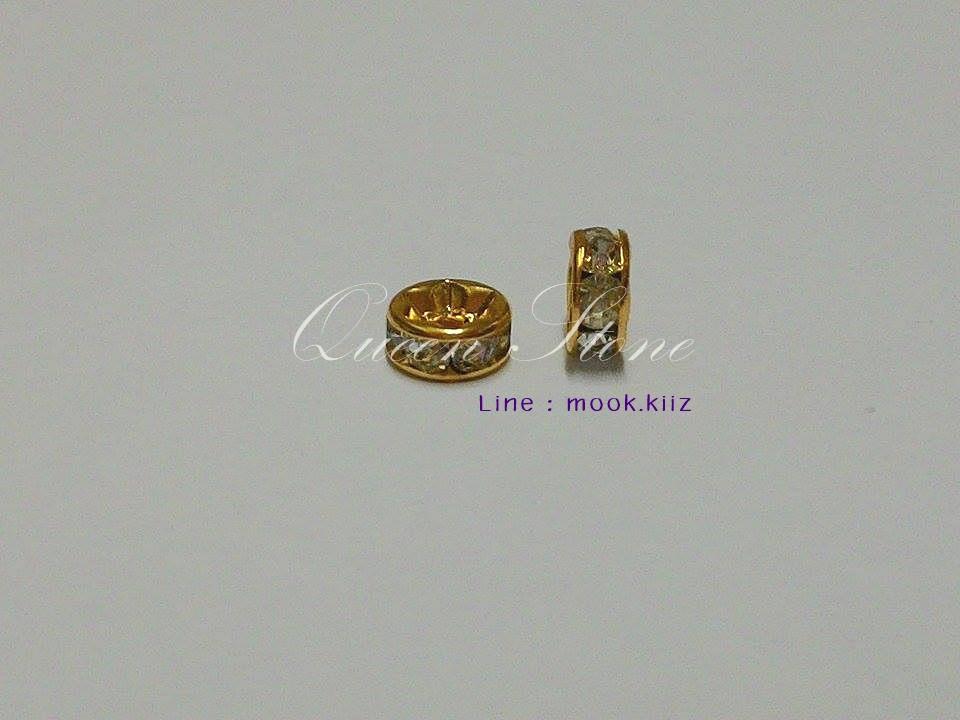 ข้อเพชรสีทองสำหรับหิน 8 มิล (1 คู่)