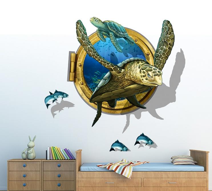 """สติ๊กเกอร์ติดผนัง 3D """"เต่าทะเล Sea Turtle"""" ความสูง 94cm กว้าง 83cm"""