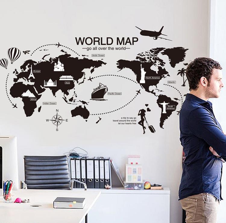 """สติ๊กเกอร์ติดผนังตกแต่งบ้าน """"แผนที่ World Map"""" ความกว้าง 62 cm ความสูง 113 cm"""
