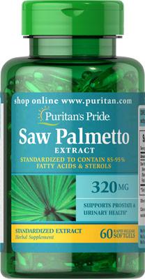 ลดปัญหาผมร่วง Puritan's Pride Saw Palmetto Standardized Extract 320 mg ขนาด 60 softgels