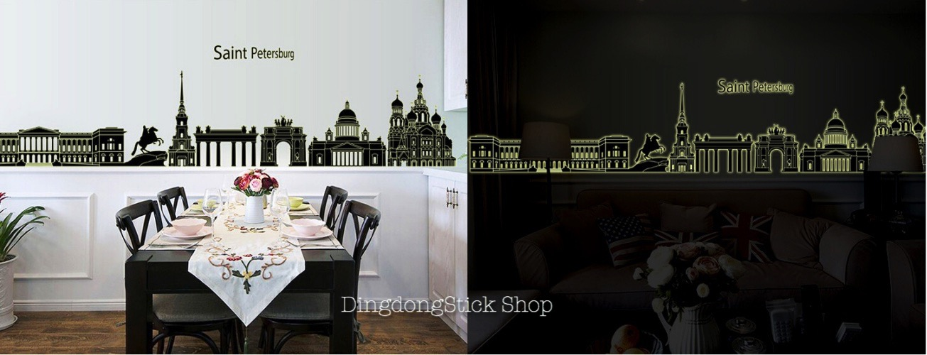 """สติ๊กเกอร์ติดผนังเรืองแสง """"Saint Petersburg"""" ความสูง 40 cm ยาว 205 cm"""