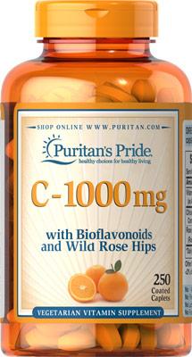 ผิวสวยใส เพิ่มภูมิต้านทาน Vitamin C-1000 mg with Bioflavonoids & Rose Hips ขนาดสุดคุ้ม 250 Caplets