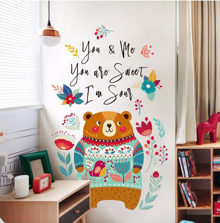 """สติ๊กเกอร์ติดผนัง สำหรับห้องเด็ก """"หมี Bear""""ความสูง 115 cm ความยาว 72 cm"""