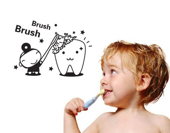 """สติ๊กเกอร์ติดผนัง ติดห้องน้ำ """"แปรงฟัน Brush"""" ขนาดความสูง 12cm กว้าง 16cm"""