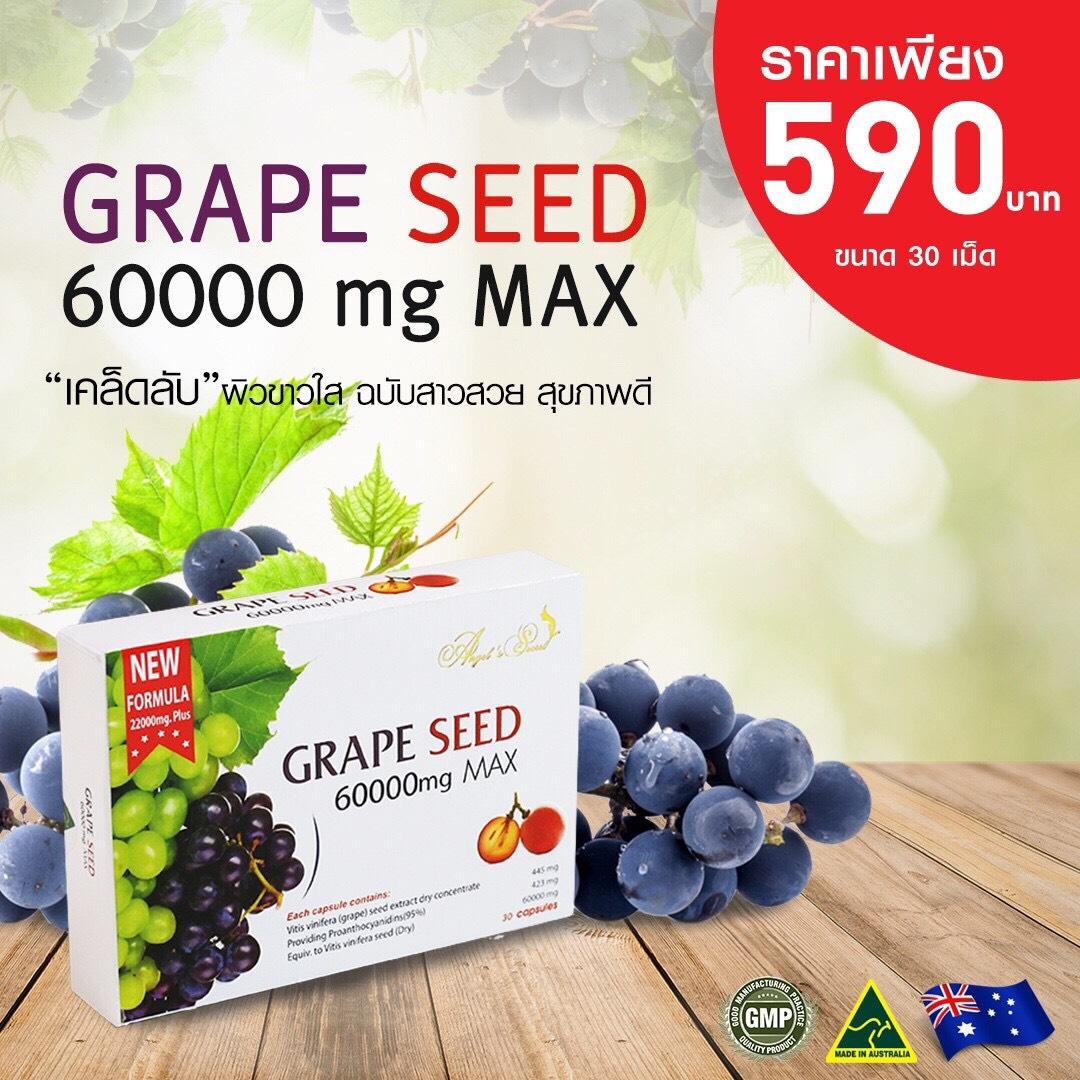 (กล่องเล็ก 30 เม็ด) Grape Seed Extract 60,000 mg สารสกัดจากเมล็ดองุ่นเข้มข้น ผิวสว่างกระจ่างใสไวมาก จากออสเตรเลีย