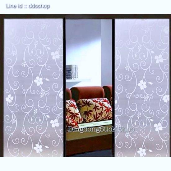"""สติ๊กเกอร์ฝ้าติดกระจกแบบมีกาว """"White Curve Flower Line"""" หน้ากว้าง 90 cm ราคาเมตรละ 189 บาท"""
