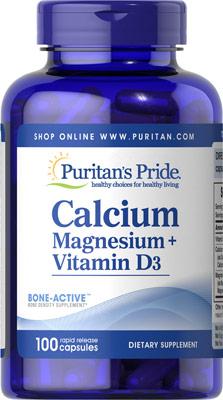 เสริมสร้างกระดูกและฟัน ให้แข็งแรง Puritan's Pride Calcium Magnesium with Vitamin D ขนาด 100 capsules