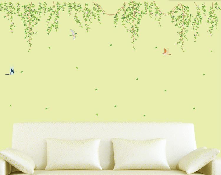 """สติ๊กเกอร์ตกแต่งผนัง หมวดต้นไม้ """"Green Leaf"""" ความสูง 100 cm กว้าง 180 cm"""