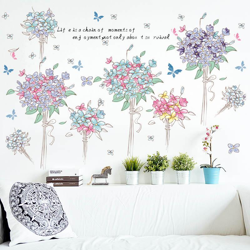 """สติ๊กเกอร์ติดผนัง """"ดอกไม้ Enjoyment"""" ความสูง 82 cm กว้าง 142 cm"""
