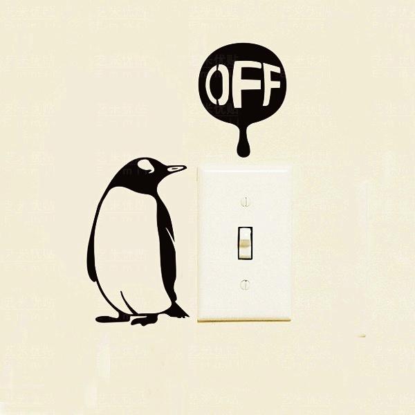 """สติ๊กเกอร์ติดปลั๊กไฟ """"เพนกวินรักษ์โลก"""" ขนาดซองบรรจุ 15 x 12 cm"""