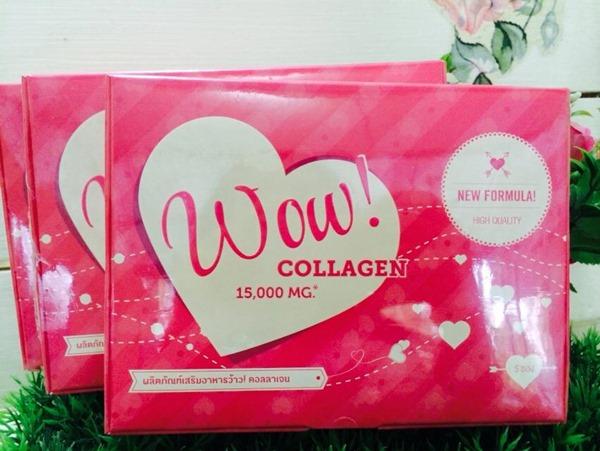 Wow Collagen 15,000 มิลิกรัม แบบ 5 ซอง ของแท้ราคาถูก ปลีก/ส่ง โทร 089-778-7338-088-222-4622 เอจ
