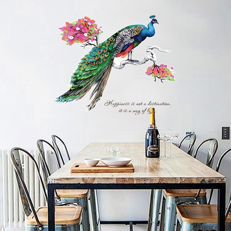 """สติ๊กเกอร์ติดผนังพีวีซีเนื้อใส """"นกยูง"""" ความสูง 82cm ความกว้าง 99cm"""