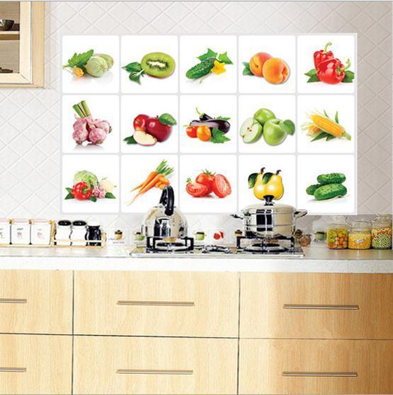 """สติ๊กเกอร์ติดครัว กันน้ำมันกระเด็น อลูมิเนียม """"Vegetable"""" ขนาด 45cm x 75cm"""