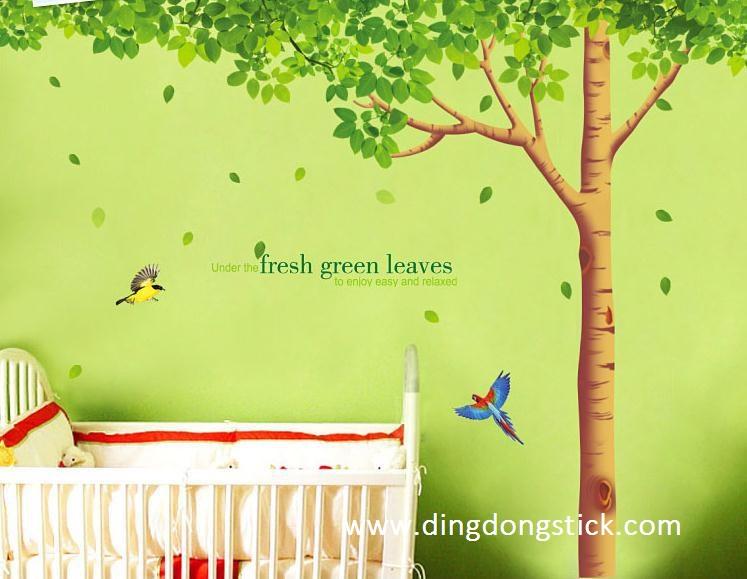 """สติ๊กเกอร์ติดผนัง ตกแต่งบ้าน Wall Sticker ขนาดใหญ่ """"ต้นไม้ใหญ่ Fresh Green Leaves"""" ความสูง 204 cm ความกว้าง 310 cm"""