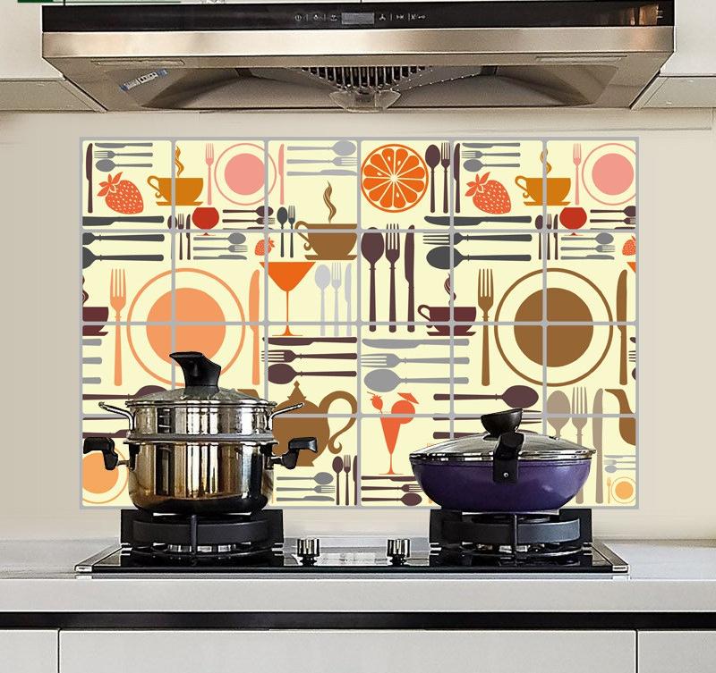 """สติ๊กเกอร์ติดครัวกันน้ำมันกระเด็น """"Kitchen Time"""" ขนาด 60 cm x 90 cm"""