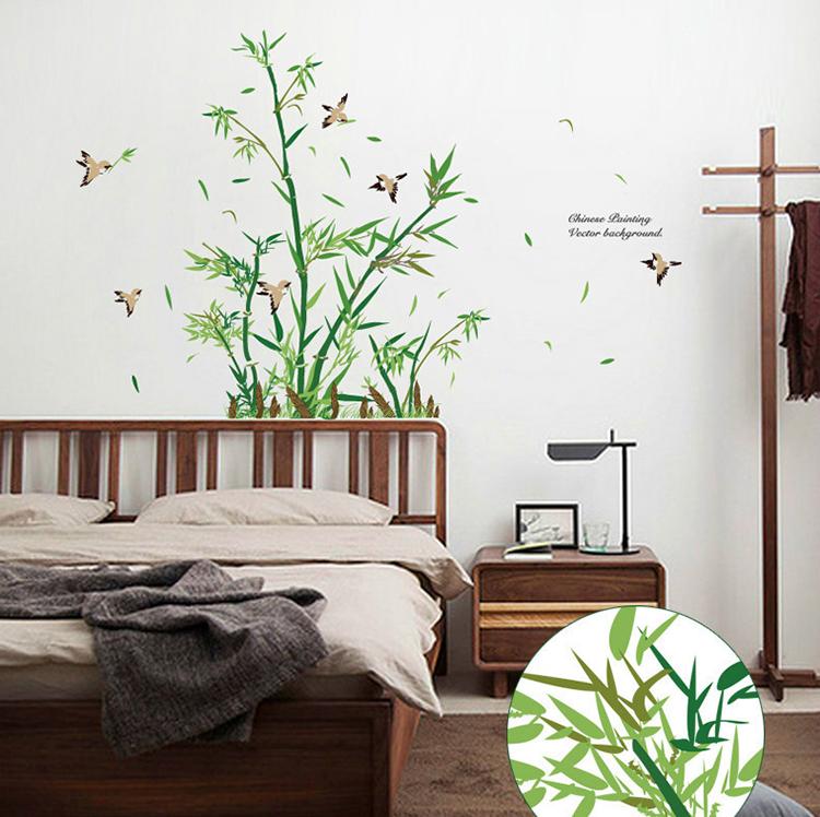 """สติ๊กเกอร์ติดผนังตกแต่งบ้าน """"ไผ่ Chinese Painting Bamboo"""" ความสูง 107 cm ยาว 123 cm"""