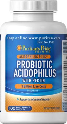 ช่วยเหลือระบบย่อยอาหาร Puritan's Pride - Probiotic Acidophilus with Pectin 3 billion ขนาด 100 Capsules