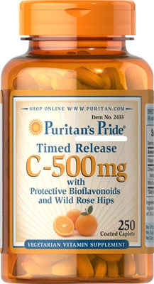 ผิวสวยใส เพิ่มภูมิต้านทาน Puritan's Pride Vitamin C-500 mg Time Release ขนาด 250 Caplets