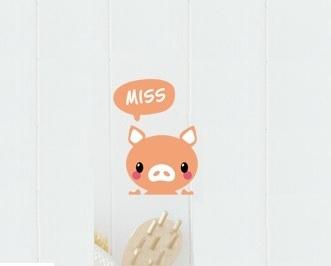"""สติ๊กเกอร์ติดปลั๊กไฟ """"Miss you Pig"""" 8 x 14 cm"""